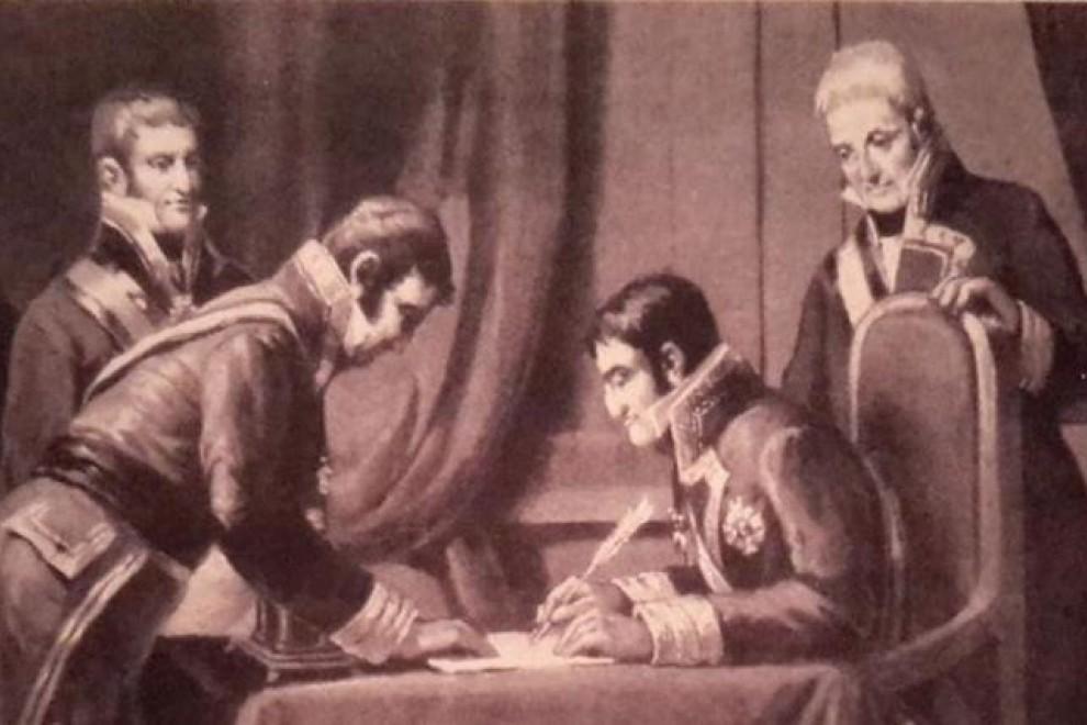 Fernando VII, firmando la derogación de la Constitución de 1812 / Archivo Histórico Municipal de Valencia.