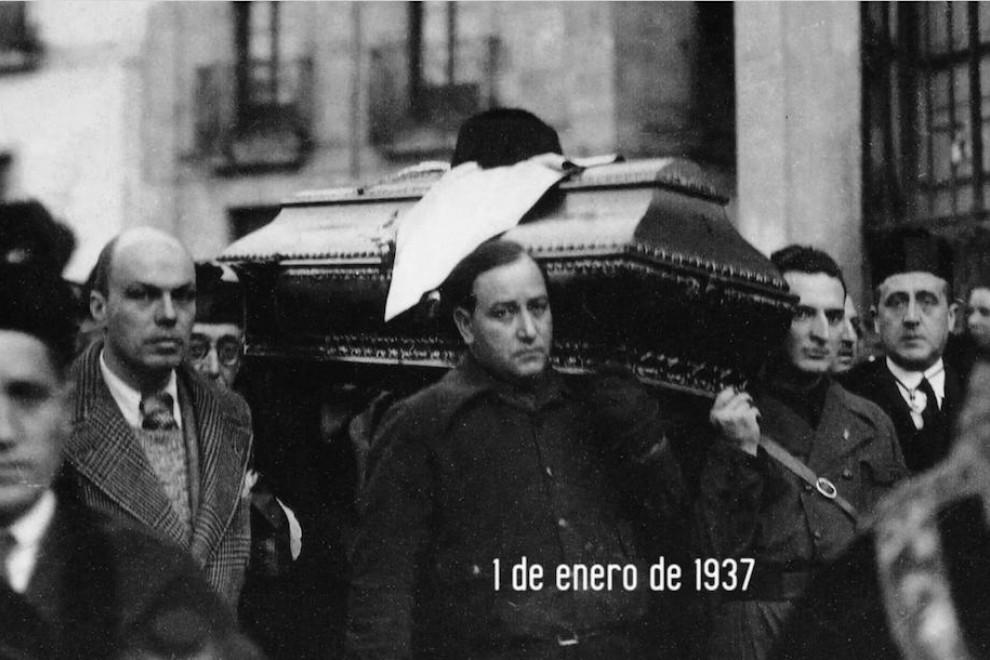Entierro de Unamuno en enero del 37.