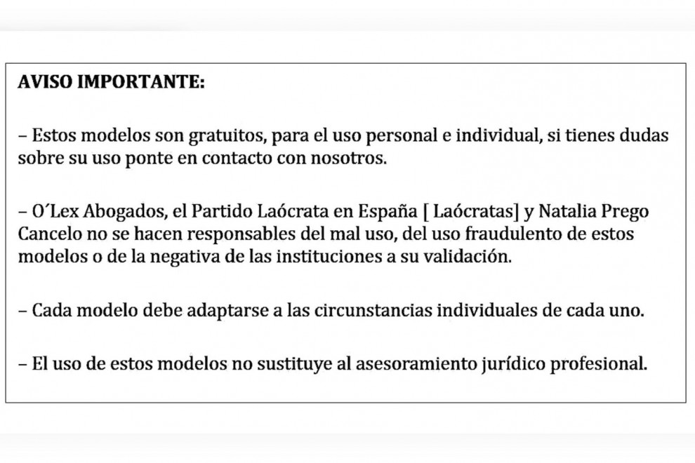 Advertencia de los documentos de la web