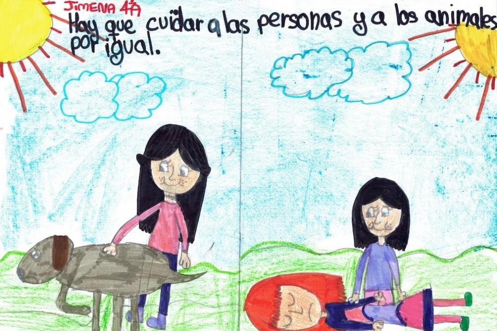 Un dibujo de Jimena, una alumna de un colegio de Valladolid, sobre los derechos de los animales.