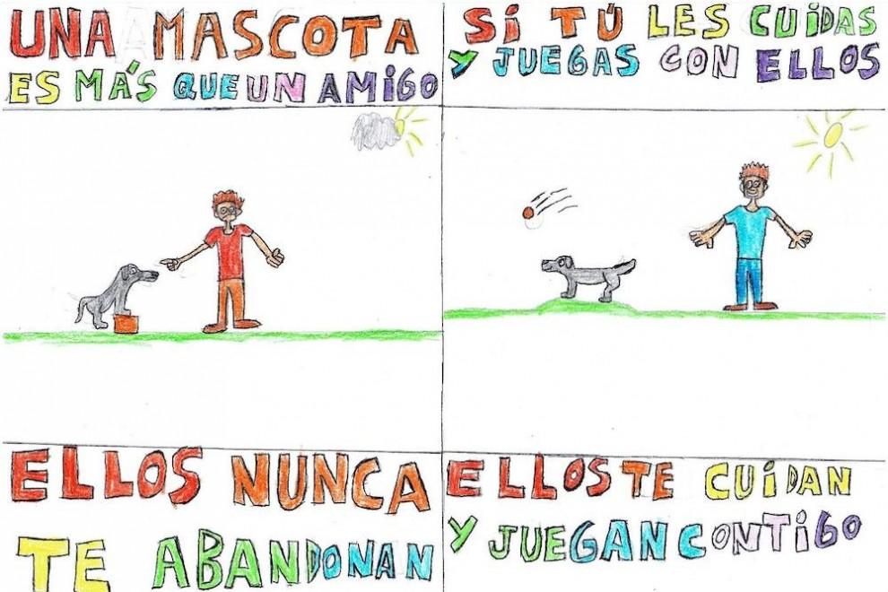 Un dibujo de Pablo, un alumno de un colegio de Valladolid, sobre los derechos de los animales.