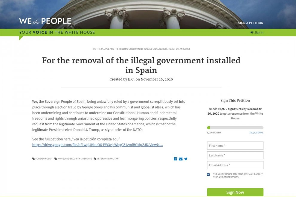 "Portada de la petición a Trump ""For the removal of the illegal government installed in Spain"", registrada a través de la plataforma ""We the People"", que ya ha reunido más de 5.000 firmas."