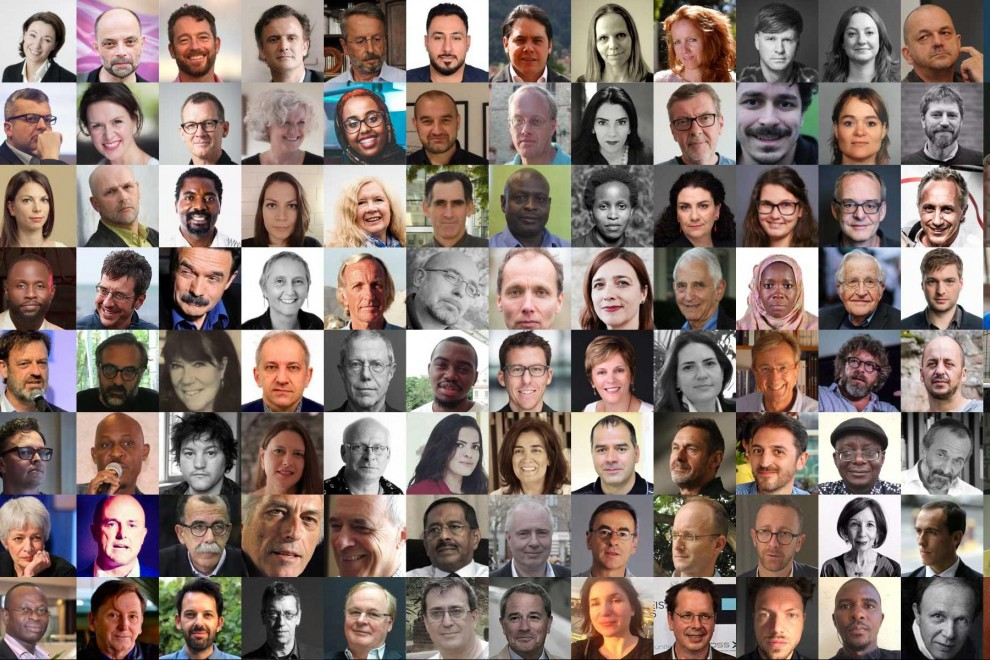 Combo fotográfico de los primeros firmantes del manifiesto de periodistas en defensa de Assange que ya ha reunido 1637 firmas de profesionales de 99 países.