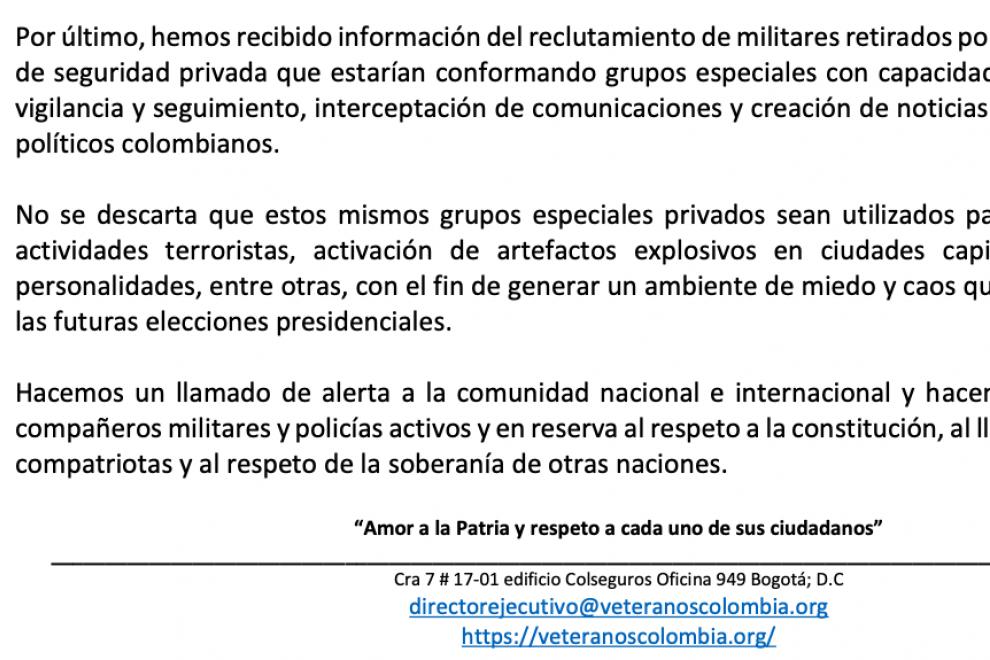 Advertencia de Veteranos por Colombia