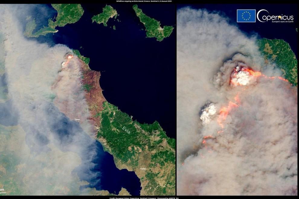 Imagen del satélite Copernicus de la Unión Europea del incendio de Eubea, Grecia.