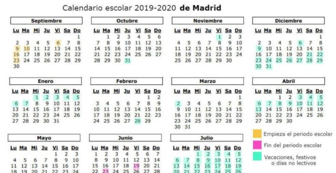 Calendario 2019 Escolar 2020 Madrid.Calendario Escolar 2019 2020 Asi Sera El Calendario Escolar 2019