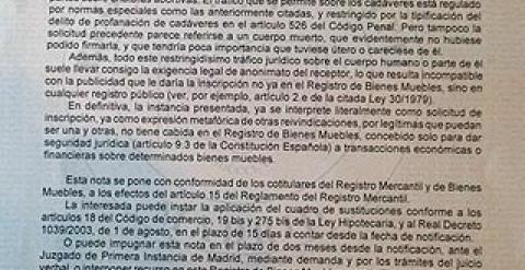 El registro mercantil niega inscribir el cuerpo como for Registro bienes muebles madrid