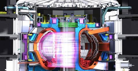 Representación gráfica del reactor Tokamak con el plasma de  isótopos de hidrógeno en su interior.  Mide 30 metros de alto y 29 de diámetro.