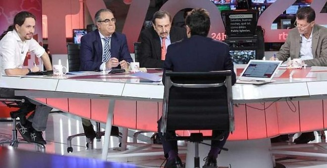 Pablo Iglesias durante su entrevista en el canal 24 horas.