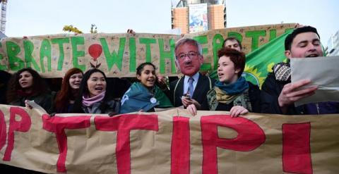 Protesta contra Juncker y el TTIP, diciembre de 2014, Bruselas. Agencias