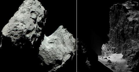 Cometa Churyumov-67P/Gerasimenko y detalle de uno de sus agrestes 'acantilados'. / ESA/OSIRIS/NAVCAM