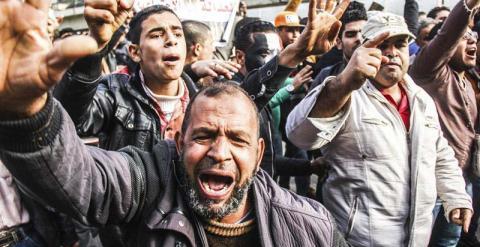 Manifestación en El Cairo con motivo del cuarto aniversario de la revolución de 2011. EFE