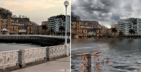 Recreación de Greenpeace sobre los efectos que tendría la subida del mar en San Sebastián.