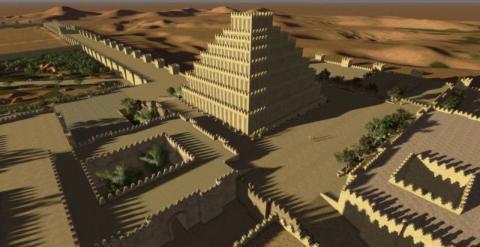 Imagen recreada de la antigua ciudad de Dur Sharrukin.- YOUTUBE