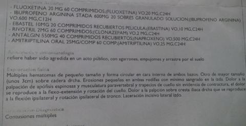 Fragmento del parte médico de Isabel María Rodríguez