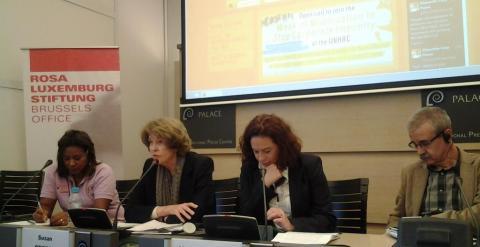 Susan George participando en las jornadas en Bruselas.