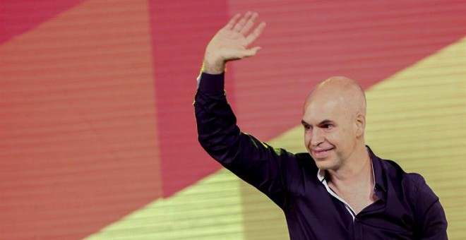 Horacio Rodríguez Larreta, candidato al gobierno porteño por la conservadora Propuesta Republicana (Pro) celebra su victoria.- DAVID FERNÁNDEZ (EFE)