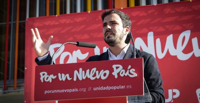 Alberto Garzón en el mitín de Alcalá de Henares.