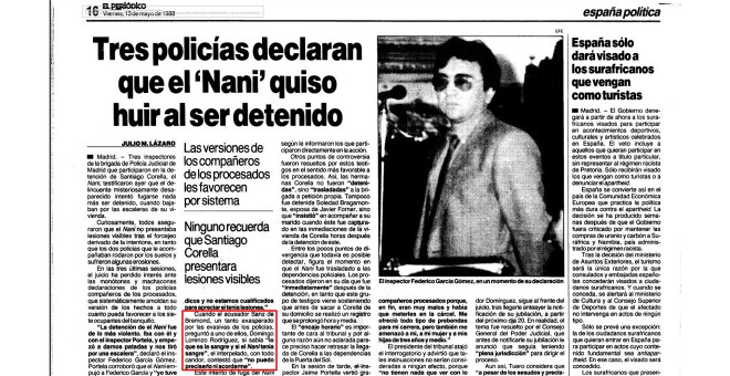 Recorte de la información sobre el juicio del caso de El Nani publicada por El Periódico de Catalunya el 12 de noviembre de 1983.