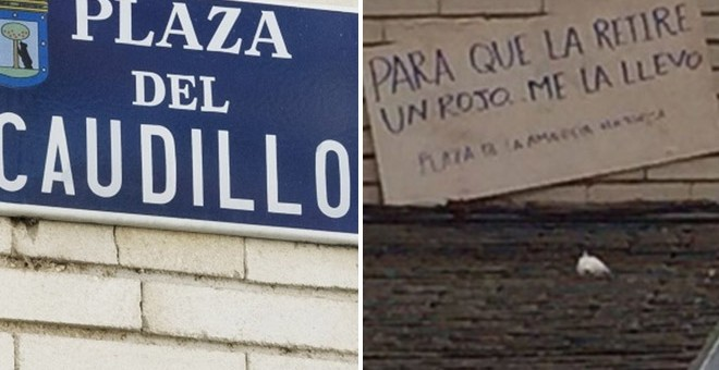 A la izquierda, la placa de la plaza de El Caudillo. A la derecha, el cartel de cartón que ha dejado la persona que se ha llevado la placa.