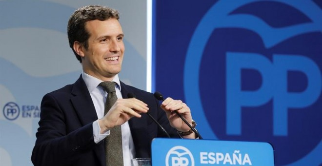Pablo Casado, vicesecretario de comunicación del Partido Popular, en rueda de prensa. EFE/Ballesteros