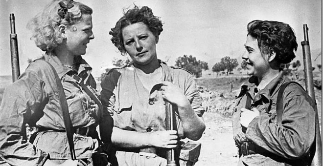 Mujeres luchando en la milicia CNT-FAI