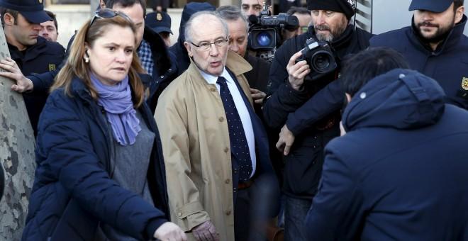 El vicepresidente del Gobierno y ex director gerente del FMI, Rodrigo Rato, a su salida de los juzgados de Plaza de Castilla, donde compareció la semana pasada. REUTERS