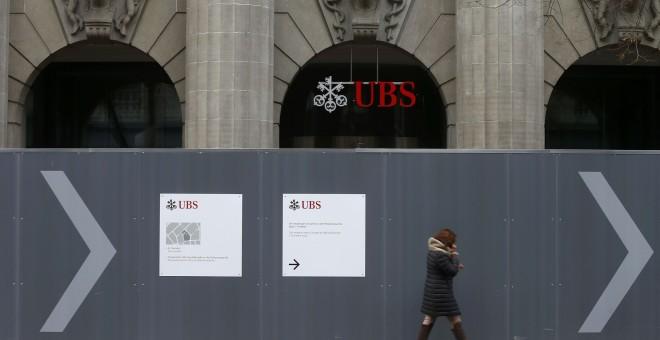 Obras de renovación en la sede del banco suizo UBS en Zúrich. REUTERS