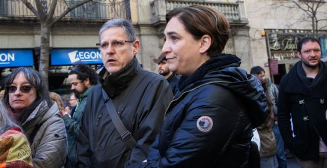 La alcaldesa de Barcelona, Ada Colau, en la manifestación. / PEPA VIVES