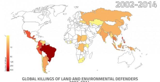 Infografía interactiva sobre los asesinatos de ecologistas en el mundo. Fuente: GLOBAL WITNESS (Pincha sobre la imagen)