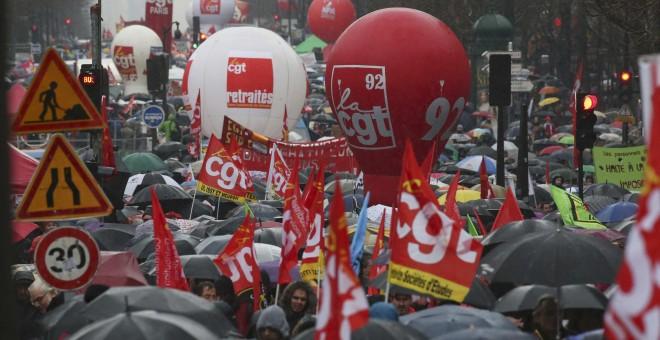 Una vista general de la manifestación en contra de la reforma laboral francesa, en París, Francia./ REUTERS/Charles Platiau