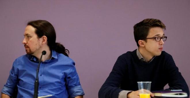 El líder de Podemos, Pablo Iglesias, y el portafoz parlamentario del partido, Ínigo Errejón, al inicio del Consejo Ciudadano./ EFE