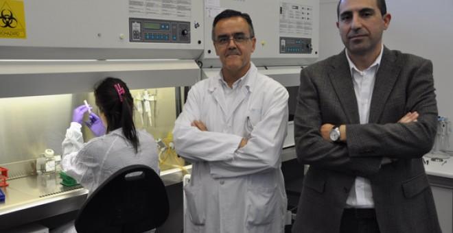 Los investigadores Manuel Ramírez Orellana y Javier García Castro en uno de los laboratorios de investigación del Hospital Niño Jesús. / HIUNJ