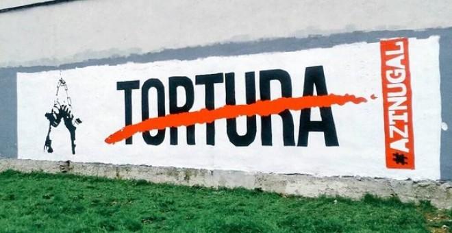 Mural por el que han sido detenidos las siete personas por calumnias a la Guardia Civil