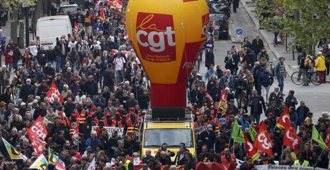 Manifestación del sindicato CGT contra la reforma laboral de Hollande, en Paris. REUTERS/Charles Platiau