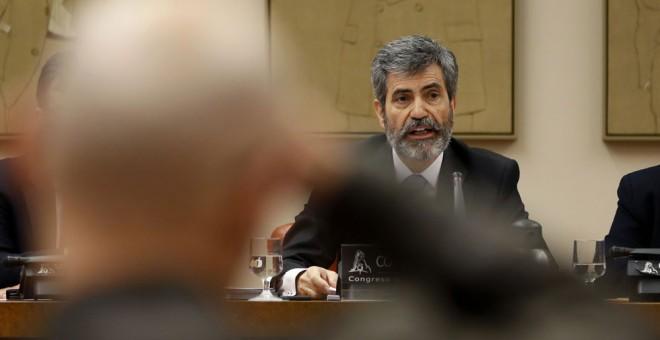 El presidente del Tribunal Supremo y del CGPJ , Carlos Lesmes, en la Comisión de Justicia del Congreso. EFE