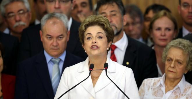 Dilma Rousseff durante su discurso tras ser apartada de la Presidencia de Brasil. - REUTERS