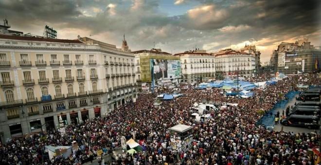 Concentración en la Puerta del Sol del movimiento 15M.- EFE