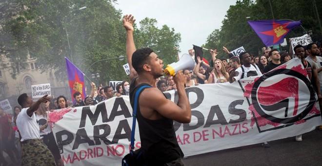 Un instante de la marcha antifascista de Madrid.- EFE