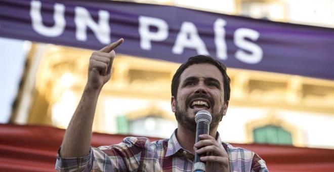 Alberto Garzón durante su intervención en Málaga.-EFE