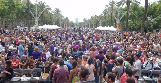 Todo listo para el mitin de Unidos Podemos.