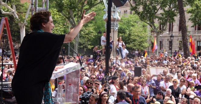Ada Colau durante el acto de campaña de En Comú Podem.