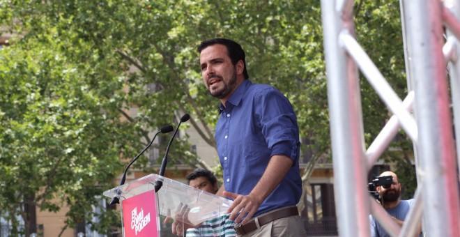 Alberto Garzón durante el acto de En Comú Podem.