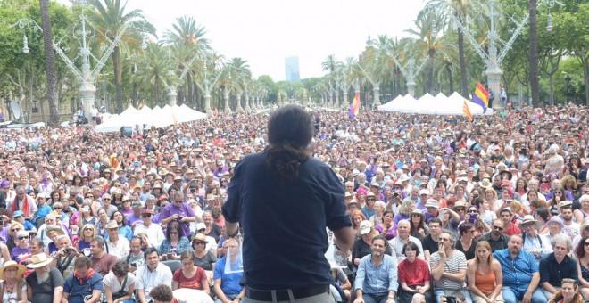 Pablo Iglesias durante el mitin en Barcelona.
