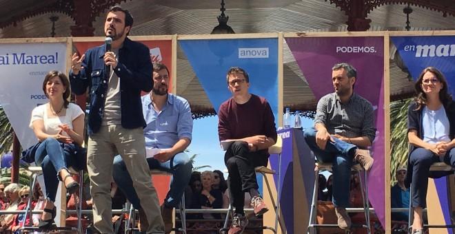 Alberto Garzón en el acto de campaña de Unidos Podemos en A Coruña este domingo.
