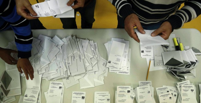 Recuento de votos de una mesa electoral de Pamplona tras el cierre del colegio en una jornada en la que mas de 500.000 personas podían votar en Navarra de las que 25.350 han solicitado ejercer su derecho a voto por correo. EFE/Jesús Diges.