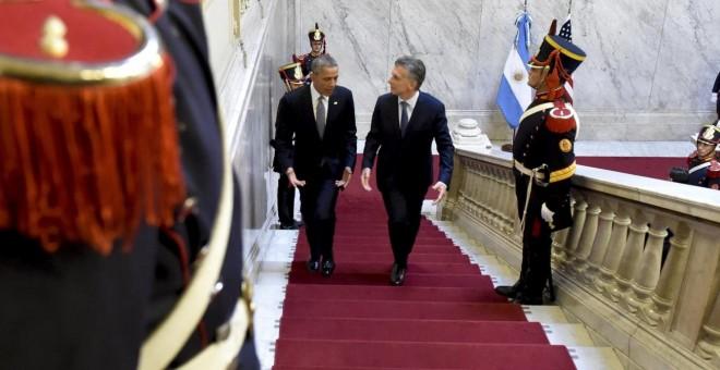 El presidente de los Estados Unidos, Barack Obama, y su homólogo de Argentina, Mauricio Macri, durante su encuentro en la Casa Rosada. Reuters