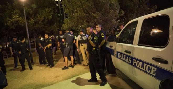 Imagen de la protesta contra la violencia policial en Dallas./ AFP