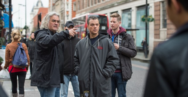 Paul Greengrass y Matt Damon, en el rodaje