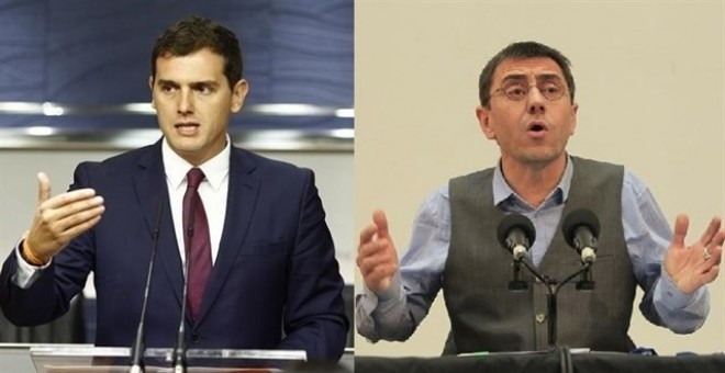 Albert Rivera y Juan Carlos Monedero. EUROPA PRESS